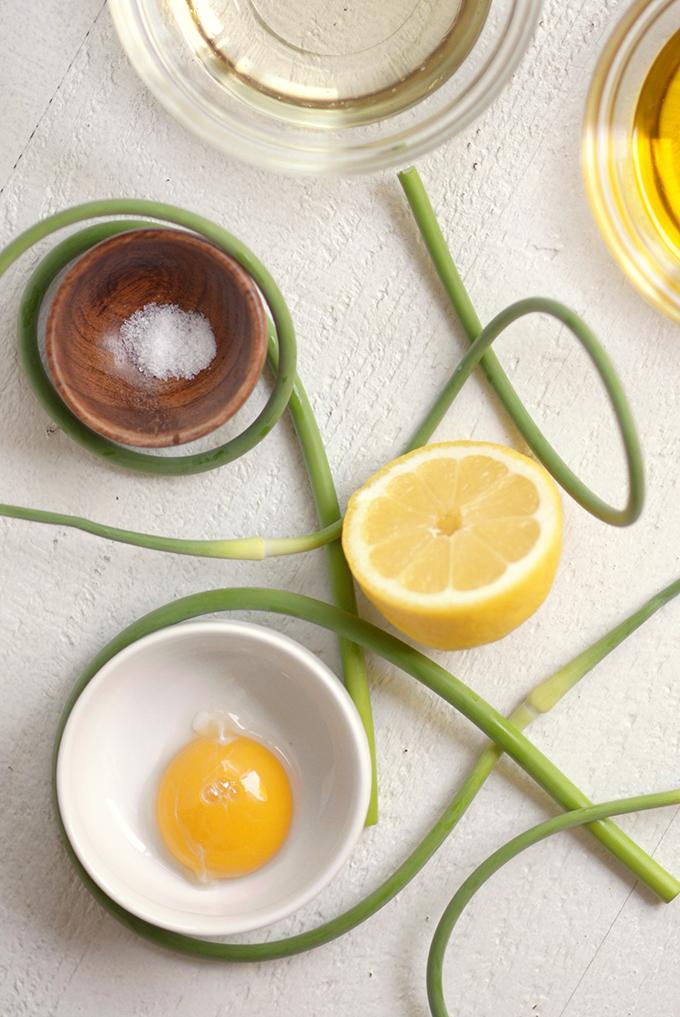 Garlic Scape Aioli Ingredients