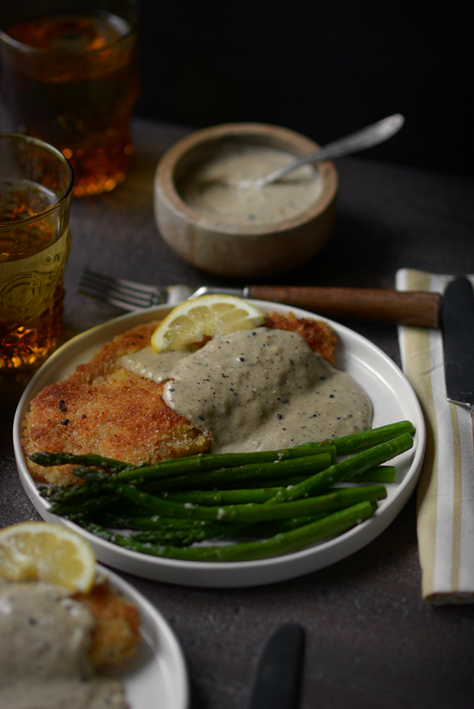 One Skillet Country Fried Tilapia with Creamy Lemon Sauce and Garlic Asparagus