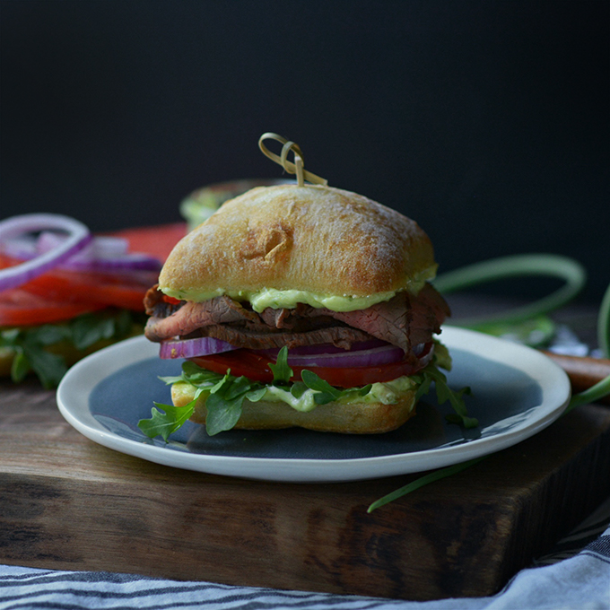 Ciabatta Steak Sandwiches with Garlic Scape Aioli