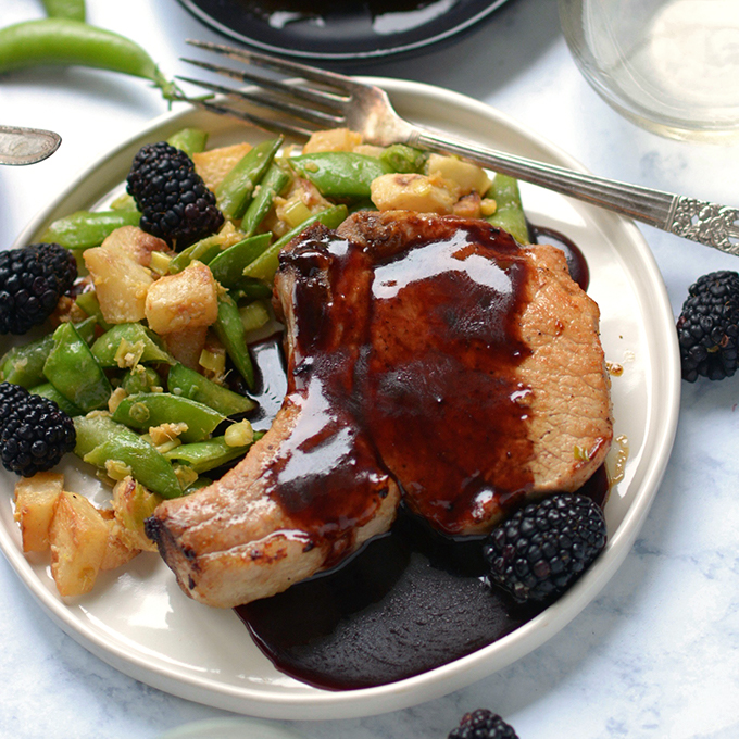 Skillet Pork Chops with Blackberry Glaze