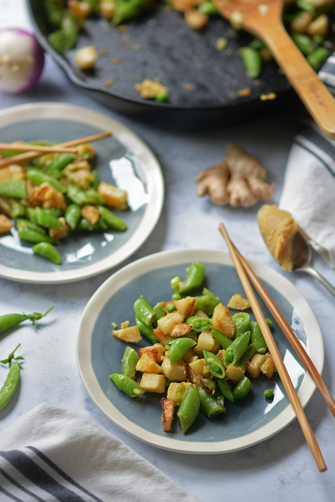 Ginger Miso Turnips and Sugar Snap Peas