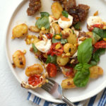 Summer Gnocchi and Sausage with Corn and Fresh Mozzarella