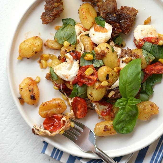 Summer Gnocchi and Sausage with Corn and Fresh Mozzarella