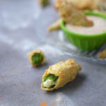 Fried Okra Stuffed with Pepper Jack Cheese