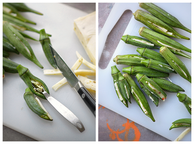 How to Stuff Okra with Cheese