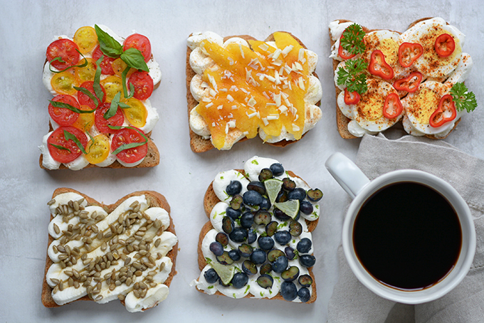 Summer Ricotta Toast 5 Ways