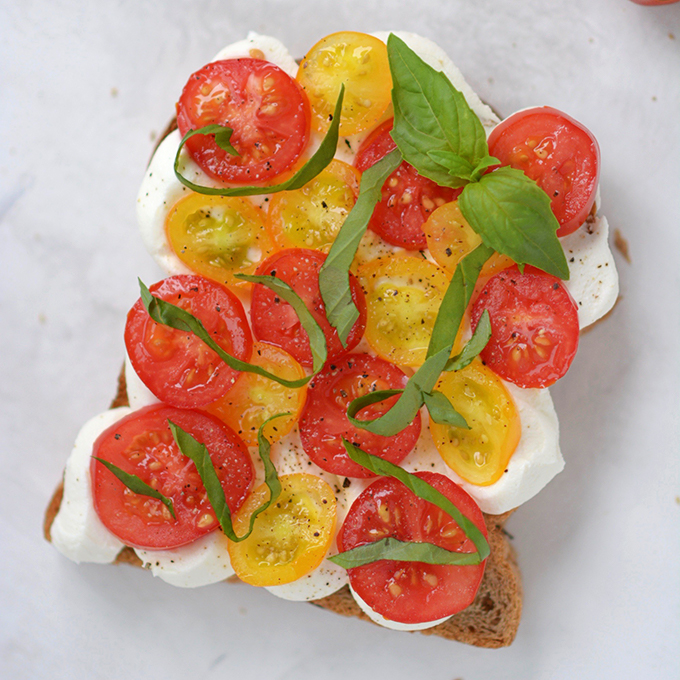 Tomato Basil Ricotta Toast