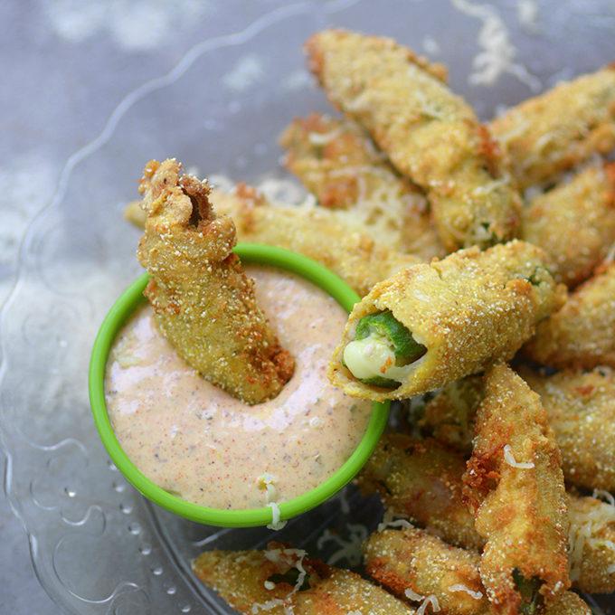 Fried Okra Stuffed with Pepper Jack Cheese