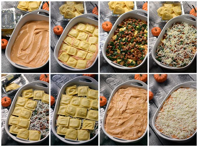 Assembling Easy Pumpkin Alfredo Ravioli Bake