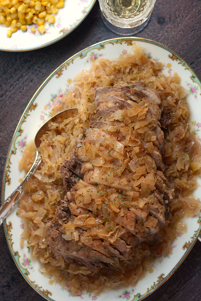 Sweet and Tangy Slow Cooker Pork and Sauerkraut