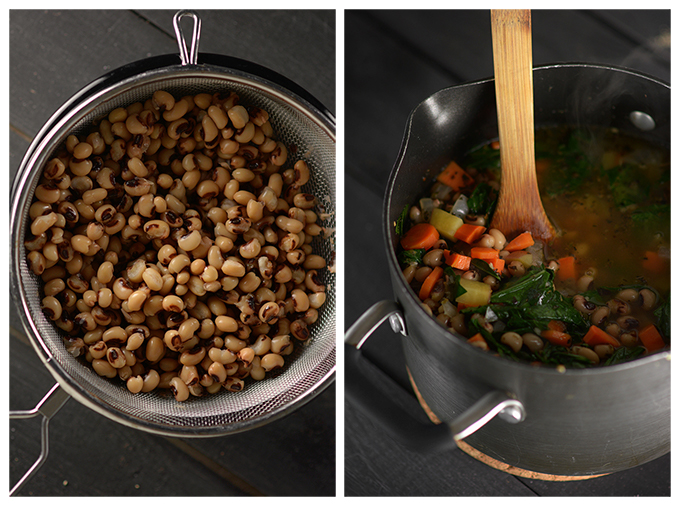Making Black-Eyed Pea and Collard Green Soup