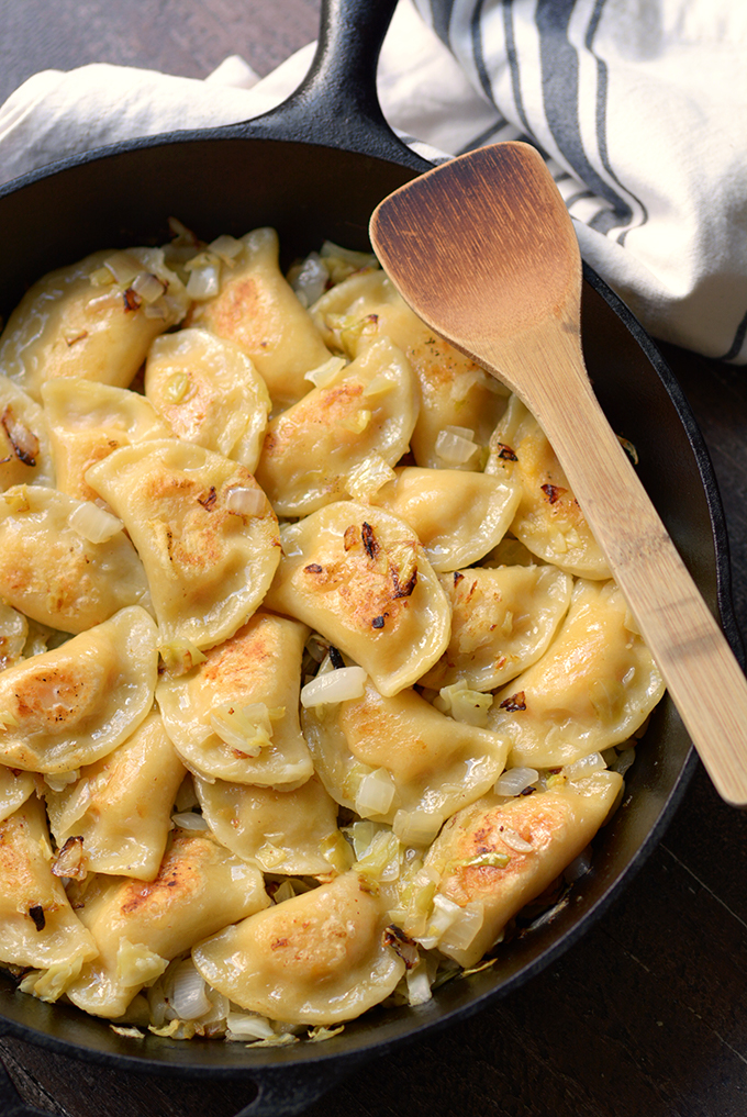 Homemade Pierogi with Caramelized Cabbage and Onions