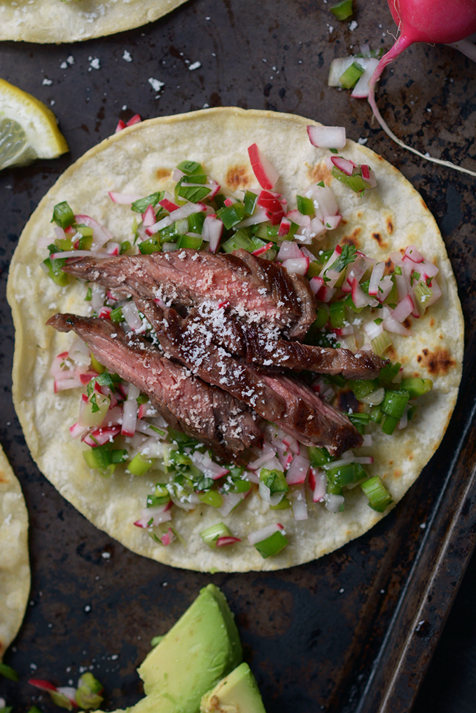 Skirt Steak and Radish Salsa Fajitas
