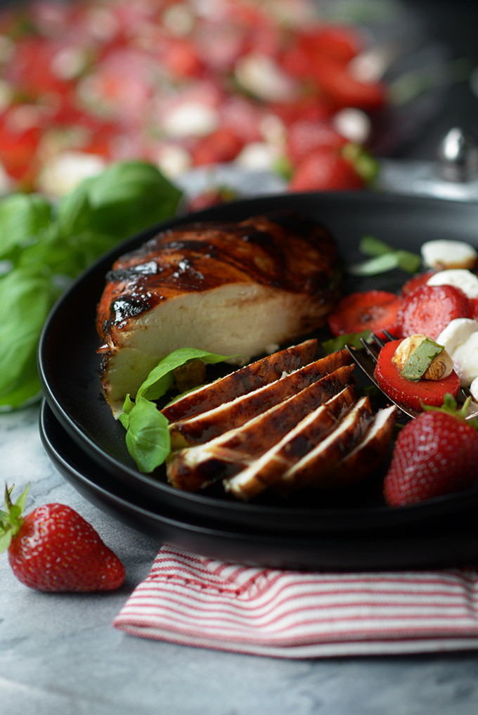 Grilled Balsamic Chicken with Strawberry Caprese Salad