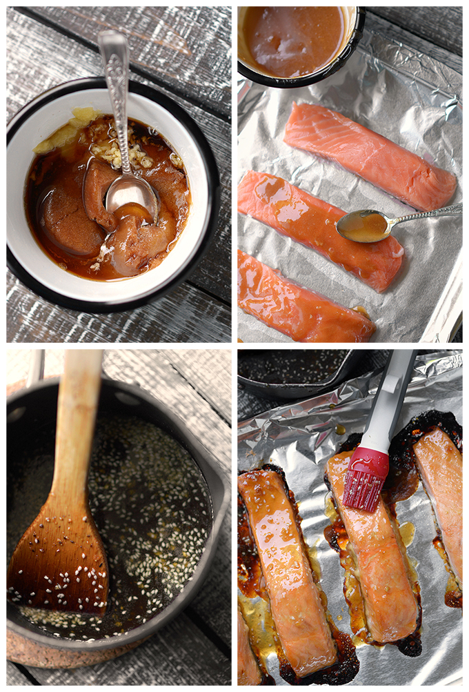 Photo directions for making Oven Baked Sesame Salmon