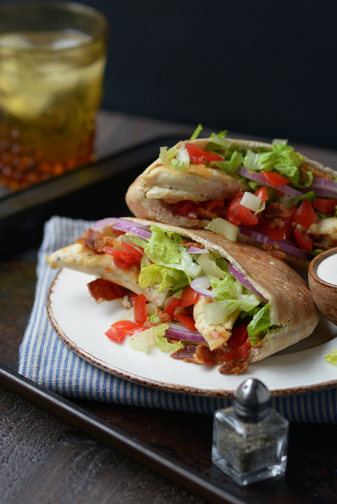 Ranch chicken pita pockets