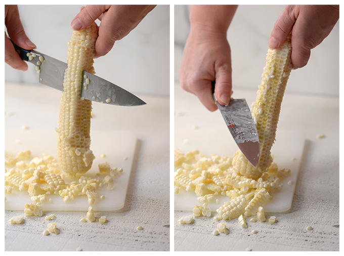 Side-by-side images of corn being cut off the cob and then scraping the cob with a knife to capture the corn milk and germ.