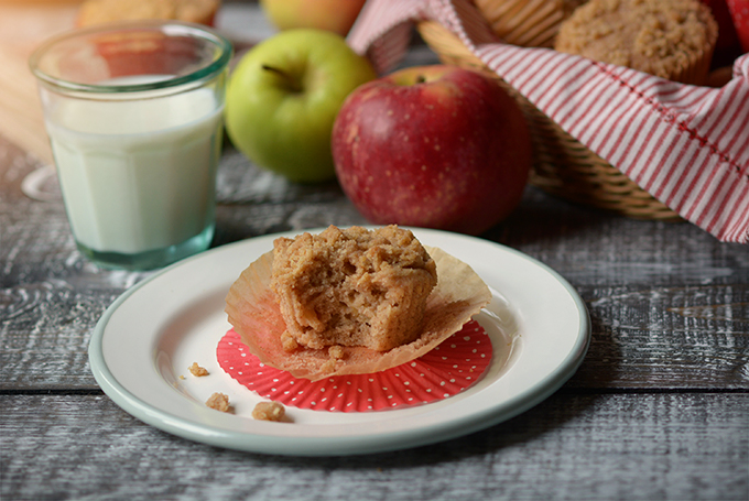 apple cinnamon streusel muffin on a plate