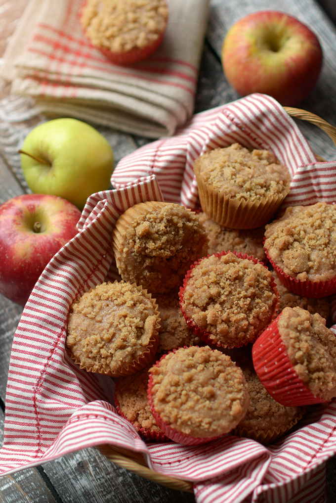 apple cinnamon streusel muffins in a basket