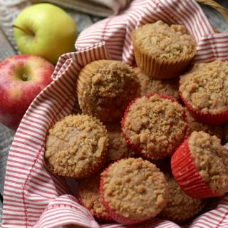 Apple cinnamon streusel muffins on a plate