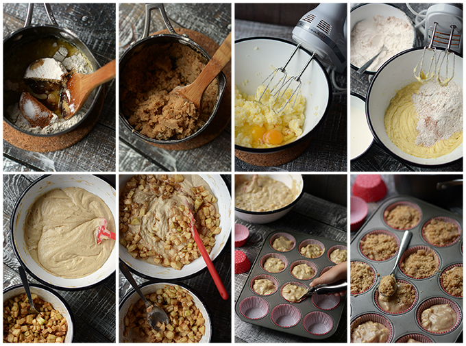 photo collage showing the steps to bake apple cinnamon streusel muffins