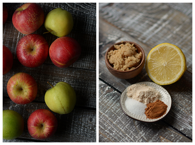 photo collage showing apples, brown sugar, lemon, and spices