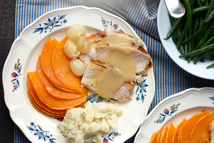 Slow Cooker Boneless Turkey Breast with Gravy on a plate