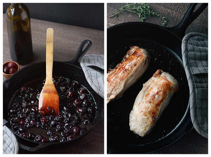 Process shots of cooking pork tenderloin and cherry sauce