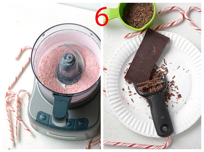Visual steps to make No-Churn Candy Cane Chocolate Chip Ice Cream