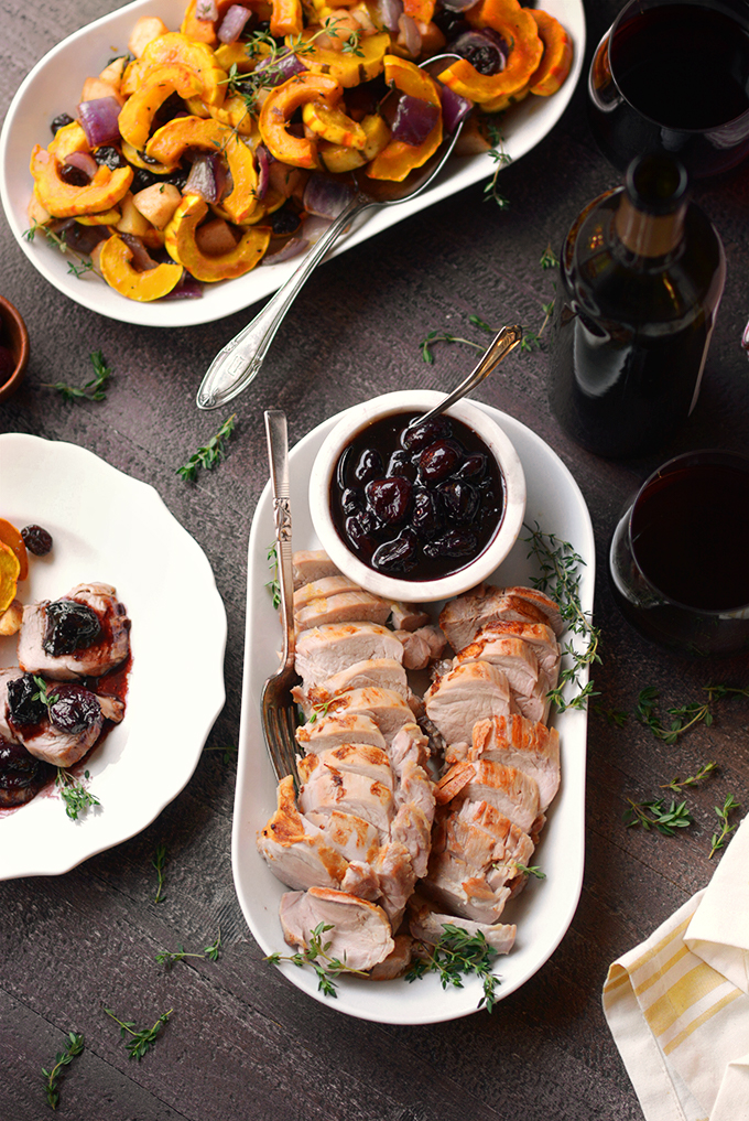 Elegant serving dish with pork tenderloin with cherry sauce