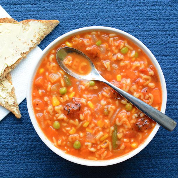 Overhead Shot of Alphabet Vegetable Soup