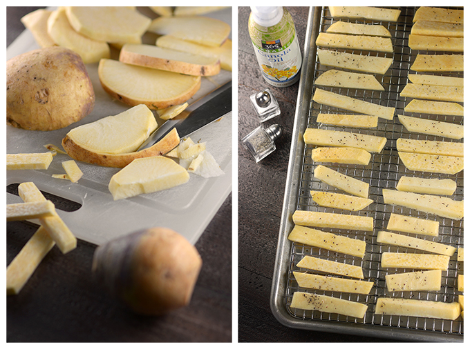 Picture of How to Cut Rutabaga Fries, and picture of Fries on Baking Rack Before Cooking