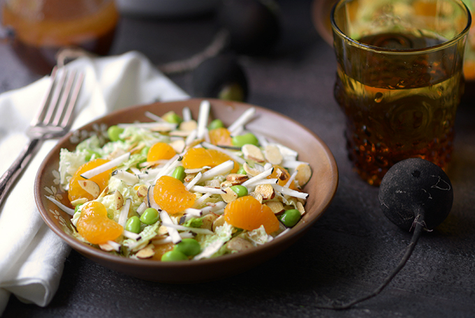 Bowl of Mandarin, Napa, and Black Radish Salad