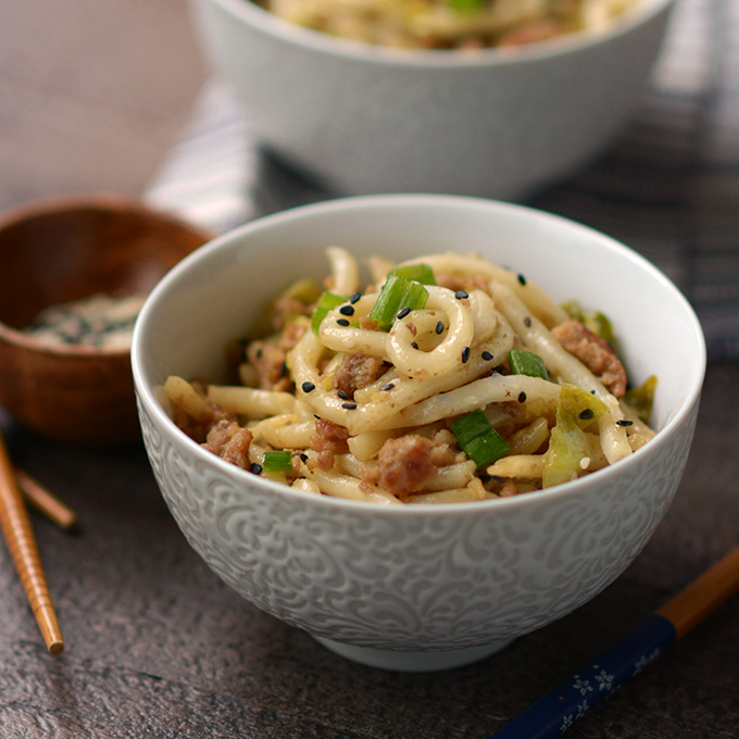 Pork and Cabbage Udon Noodles with Black Sesame