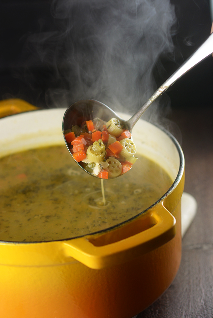 Ladle Full of Semi-Homemade Chicken Noodle Soup