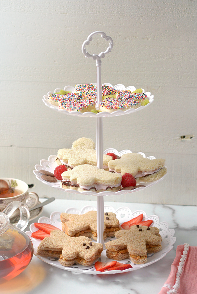 Tiered Plate of 3 Kid's Tea Sandwiches