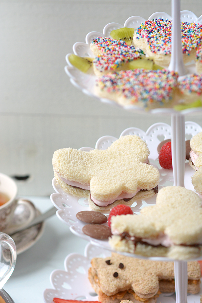 3 Kid's Tea Party Sandwiches Focused on Raspberry Fluff and Nutella Sandwiches