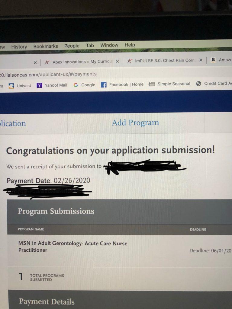 screenshot of my grad school application