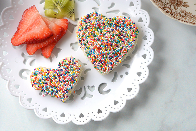 Horizontal Overhead Shot of Heart Shaped Fairy Bread