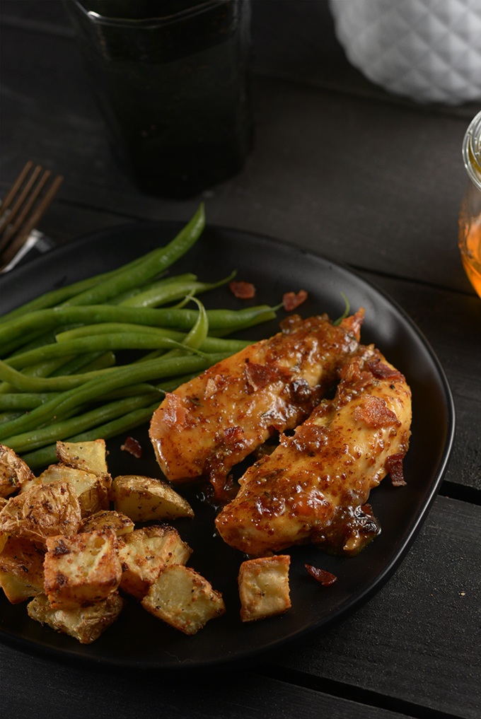 Quick and Easy Honey Mustard Chicken on a plate with green beans and potatoes