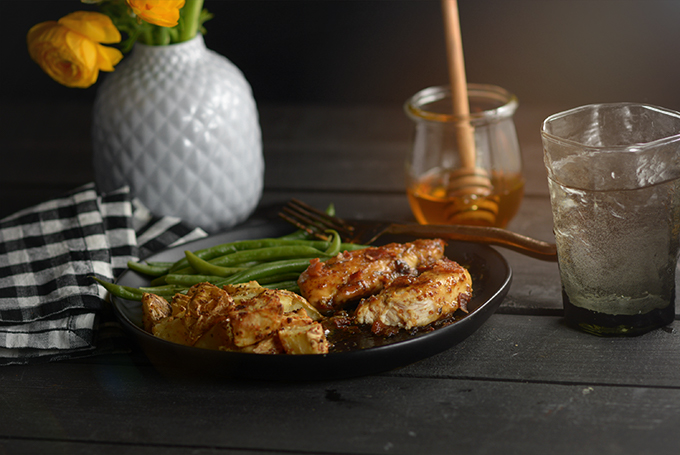 Horizontal Photo of Table Set with Honey Mustard Chicken