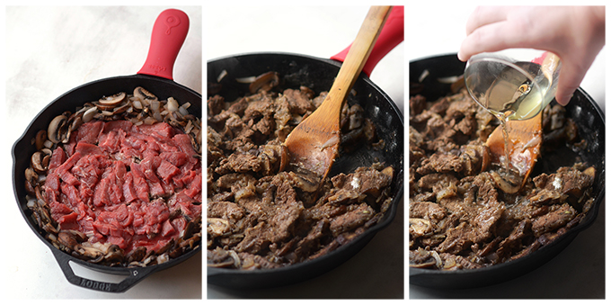 three-pictures-of-making-beef-stroganoff