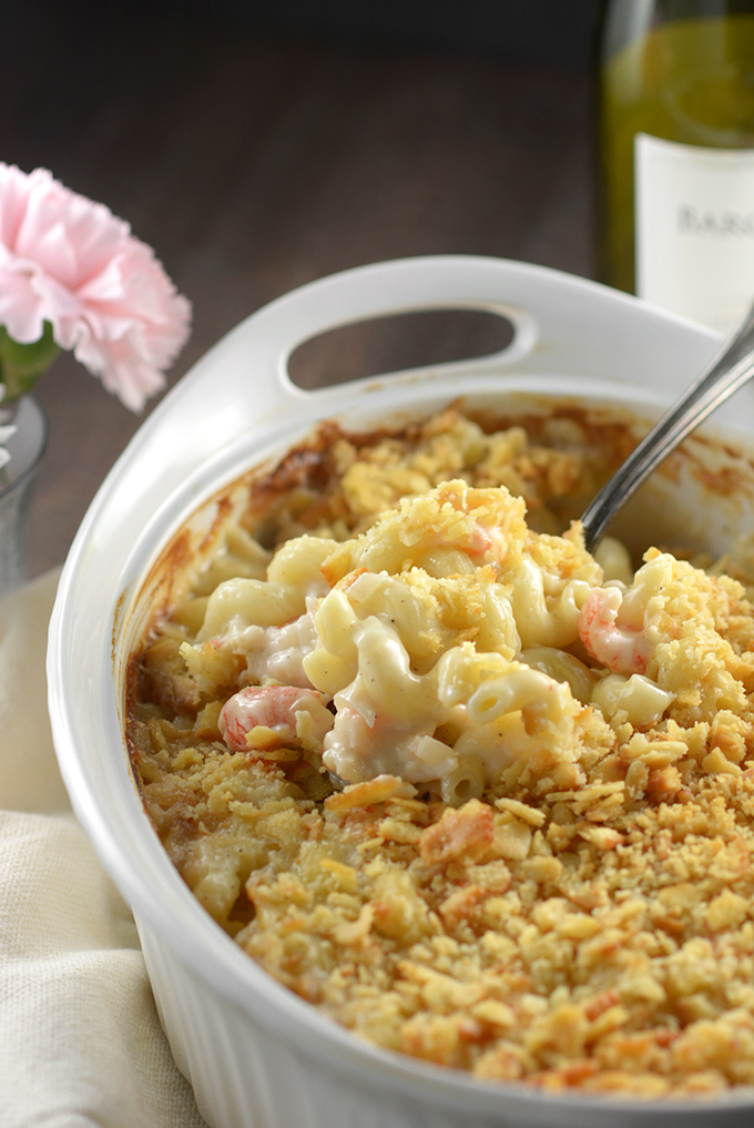 Cooked Casserole Dish of Langostino Mac 'n Cheese