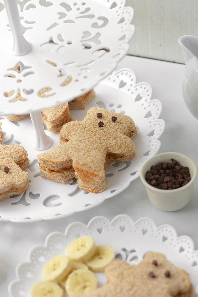 Tea Tray of Peanut Butter and Honey Bear Tea Sandwiches