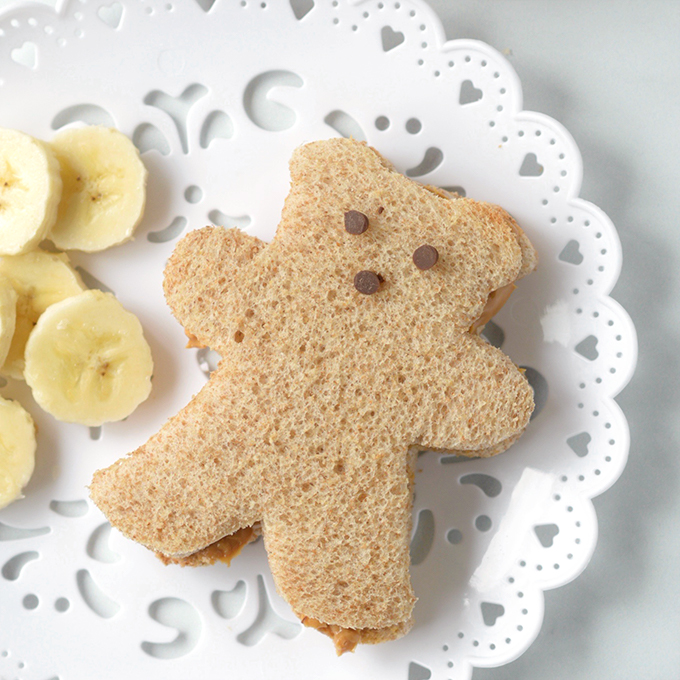 Square Image of Peanut Butter and Honey Bear Tea Sandwiches