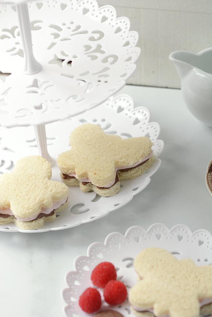 Butterfly Raspberry Fluff and Nutella Sandwich on a Tea Sandwich Plate