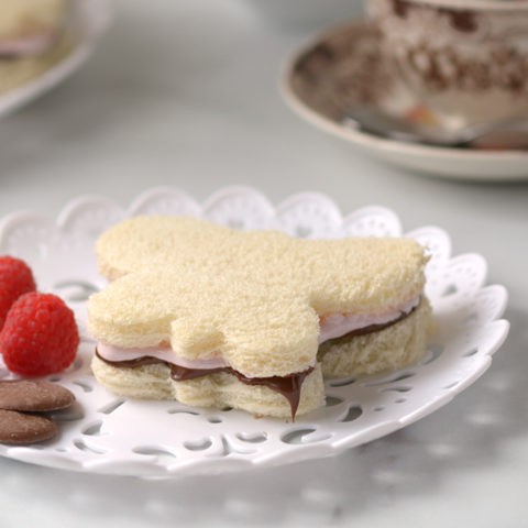Butterfly Raspberry Fluff and Nutella Tea Sandwiches