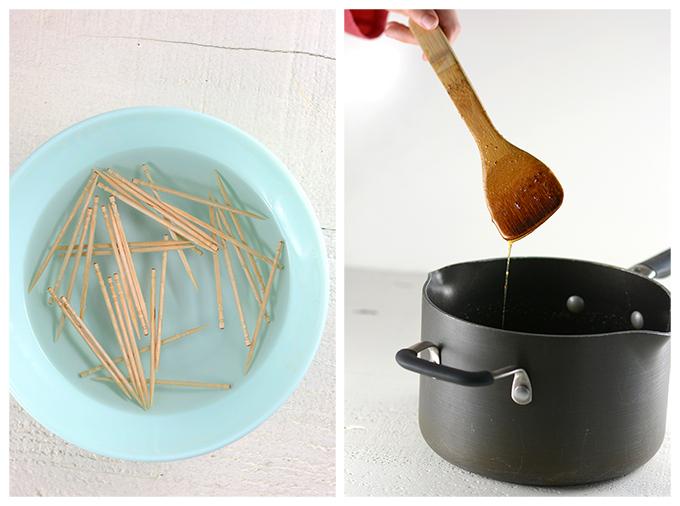 Soaking Toothpicks and Making Honey Glaze