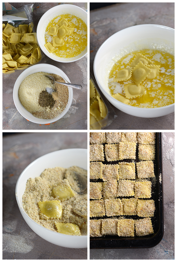 four photos showing how to make baked ravioli