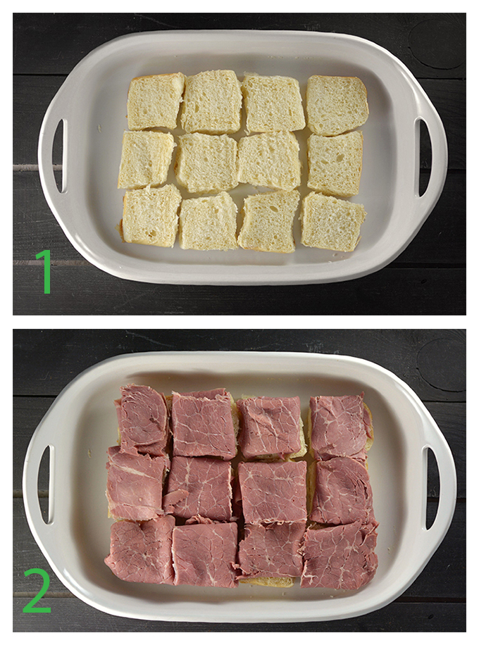 Step-by-step pictures on how to make reuben sliders